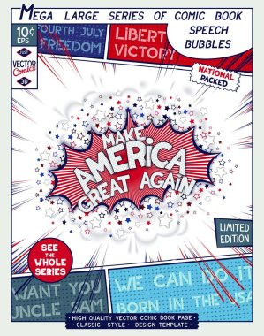 Make America Great Again. Motivation slogan. Poster design in style of comics book. Vector illustration