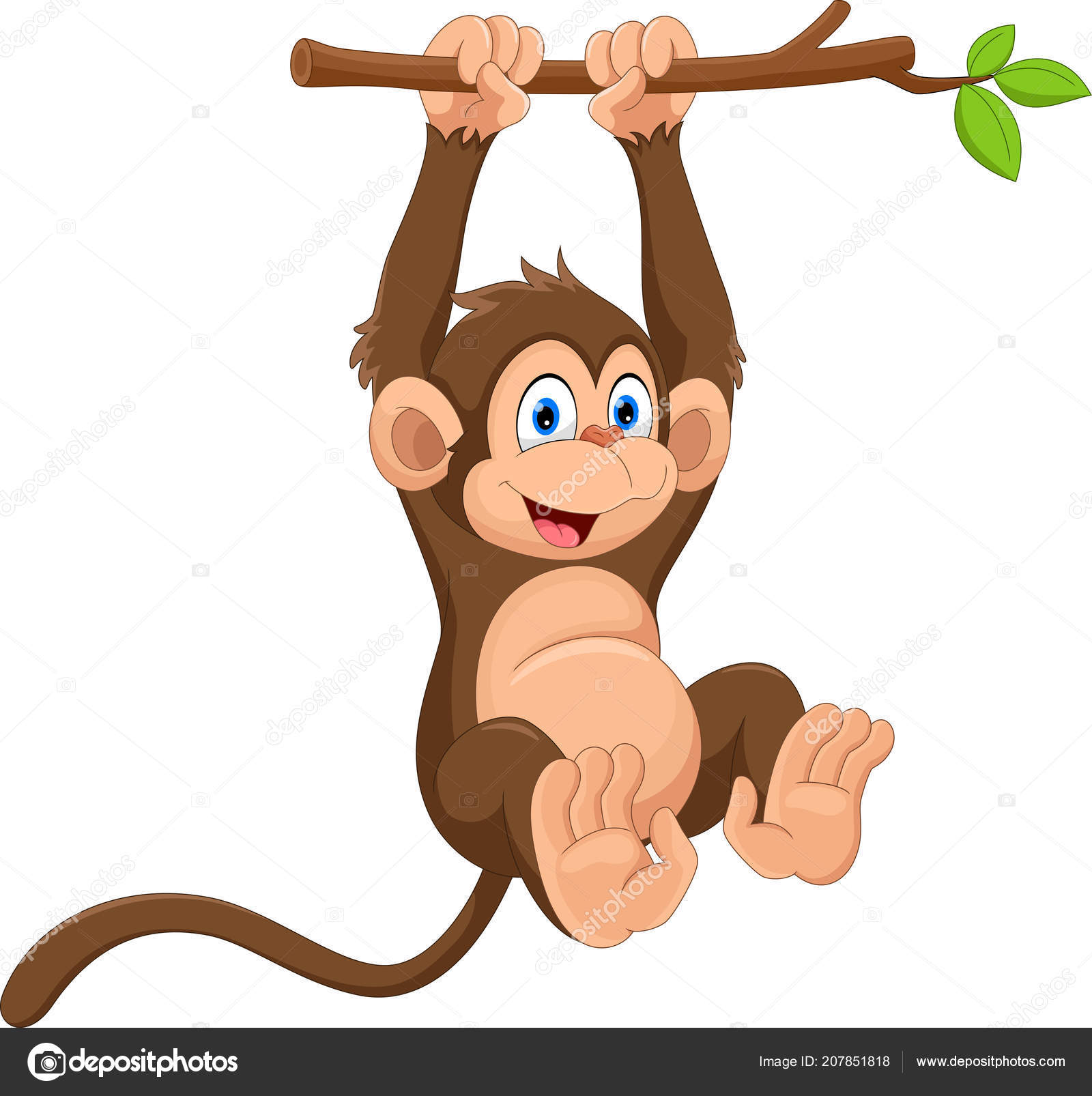 Cartoon Cute Monkey Hanging Tree Branch — Stock Vector ...