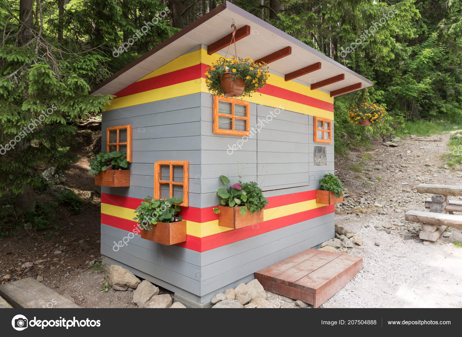 Colorful Abstract Small Wooden House Closed Little Shop Stock Photo C Kelifamily 207504888