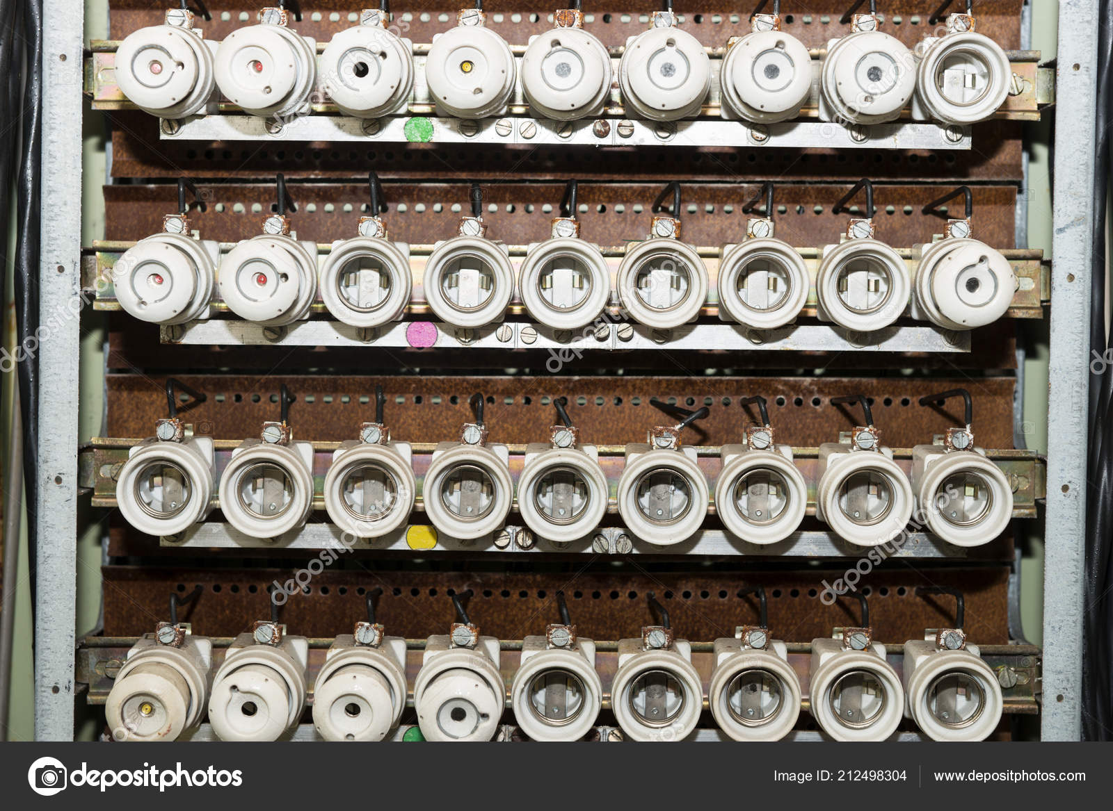 Old Electrical Fuse Box Porcelain Fuses — Stock Photo