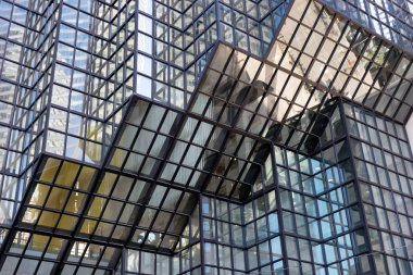 Reflections in skyscrapers windows. Downtown, business center of Toronto Canada