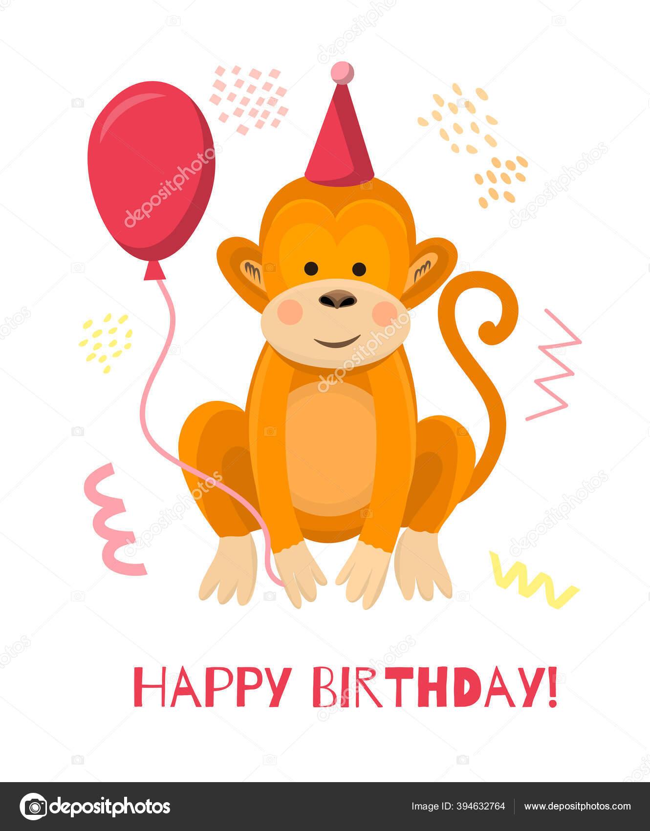 Monyet Kartun Yang Lucu Mengenakan Topi Merah Muda Dengan Balon Merah Muda Kartu Ucapan Vektor Dan
