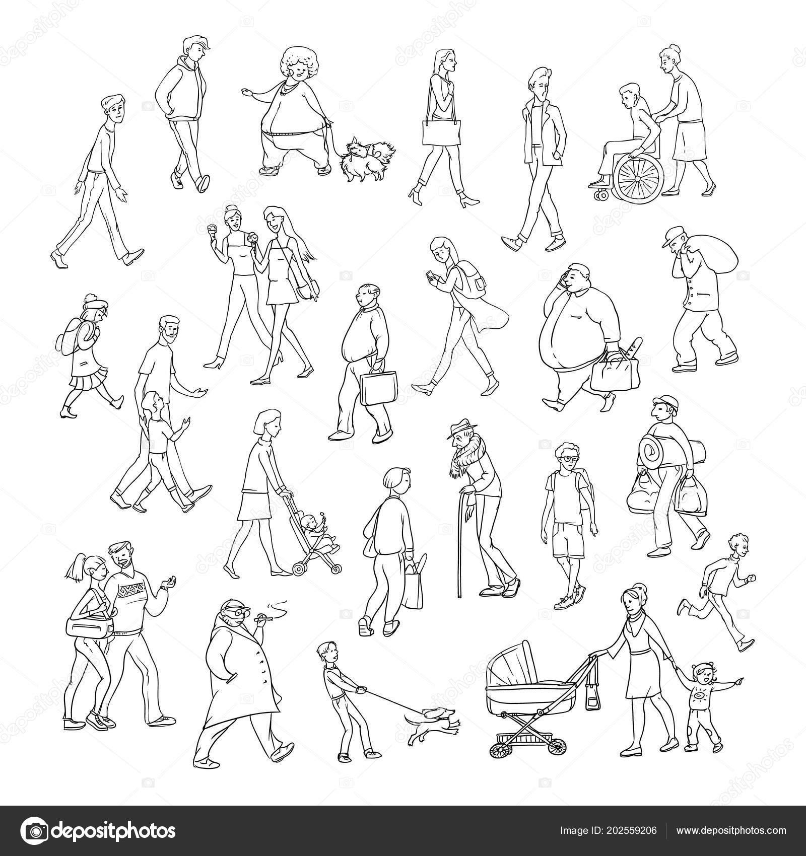 Vector Skizze Menschen gehen Straße entlang. Kinder und Erwachsene ...