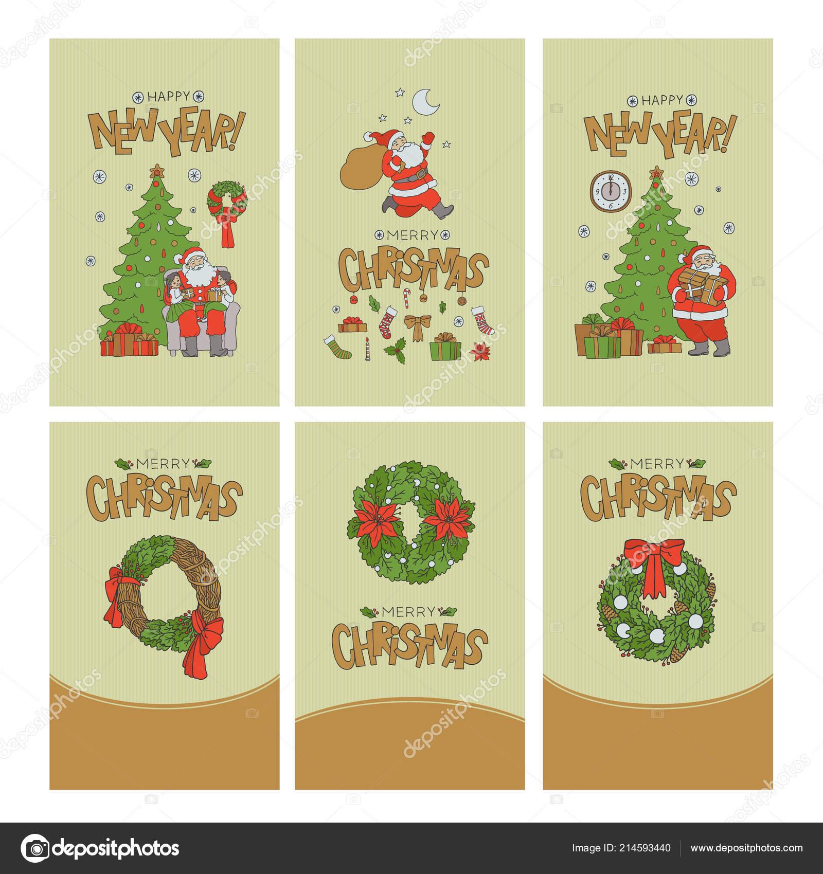 Christmas set Grußkarten mit goldenem Schriftzug. Silvester Urlaub ...