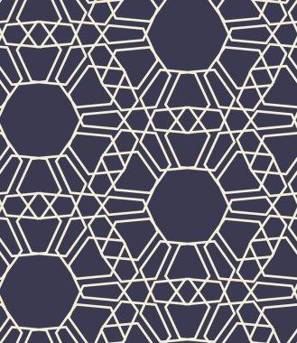 Cream on Navy, Islamic sacred geometric design, simple line art, seamless repeat vector pattern
