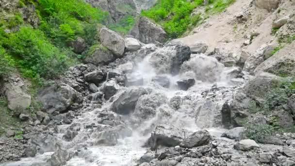 Summer landscape with mountain wild stream