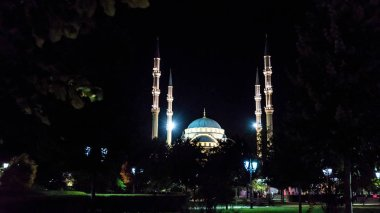 Evening view Akhmad Kadyrov Mosque, Grozny, Russia