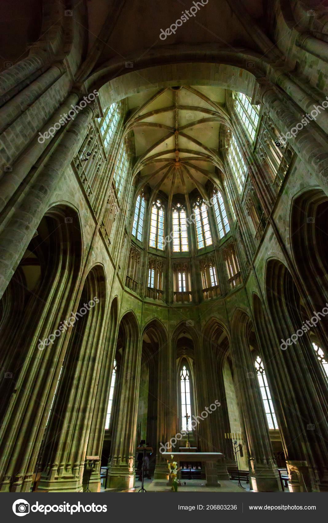 Medieval Abbey Interior Mont Saint Michel France Stock Photo