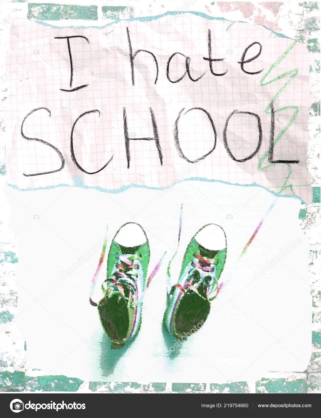 Schule Ein Hinweis Papier Stück Hasse Auf Und Ich Turnschuhe 80wvmOynNP