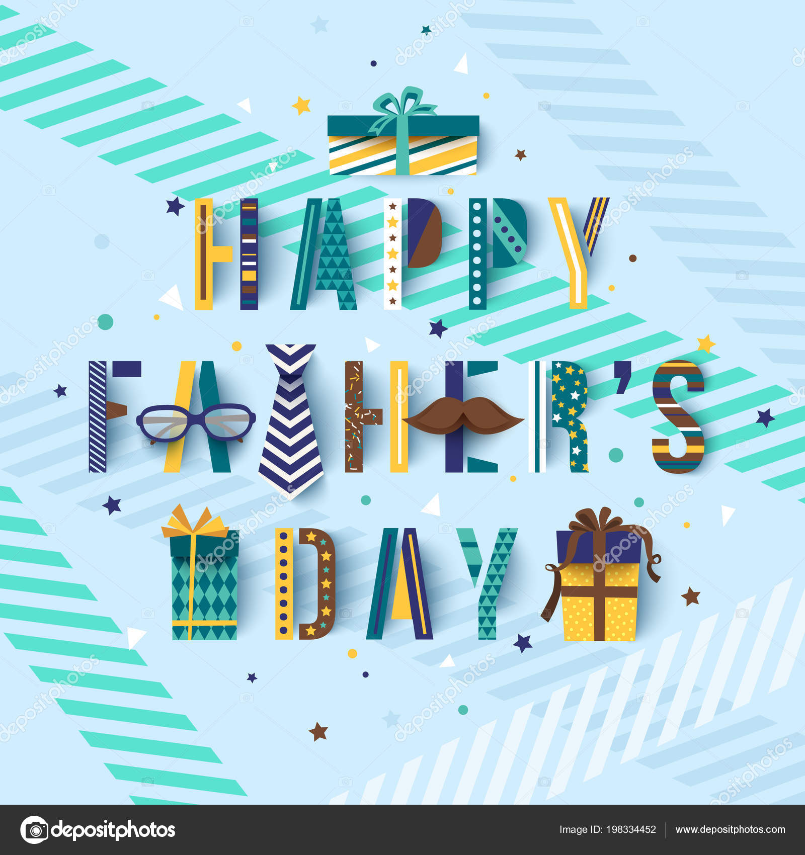Happy Fathers Day Greetings Card With Typography Text Lettering