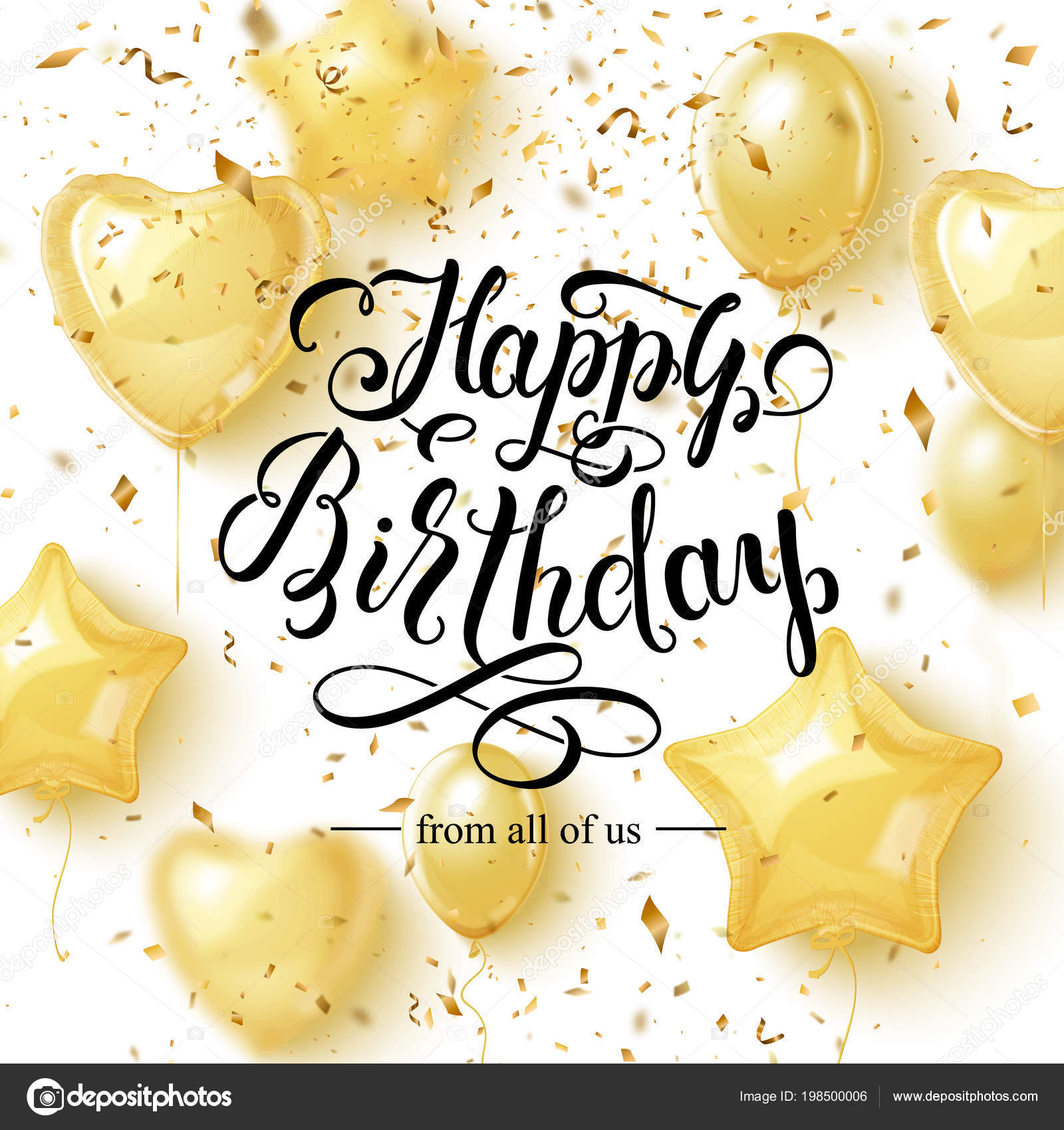 Happy Birthday Background With Golden Balloons And Pieces
