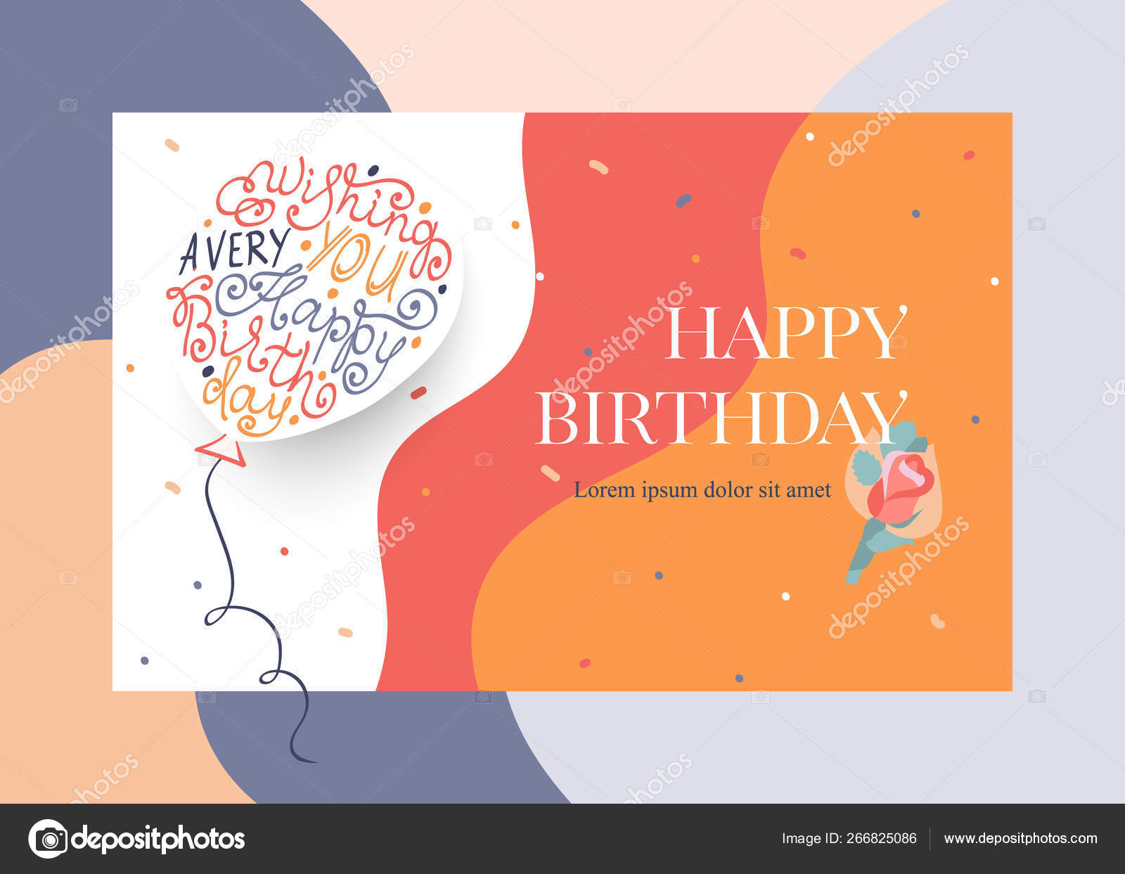 Happy Birthday greeting card design with balloon and