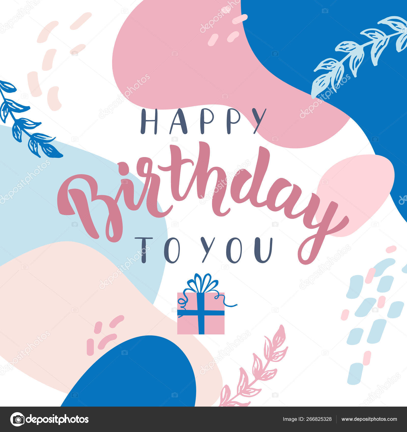 Happy Birthday Greeting Card Lettering Gift Box Vector