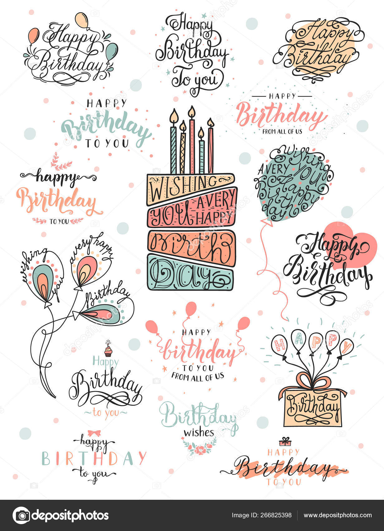 Vintage happy birthday lettering and typographic design for
