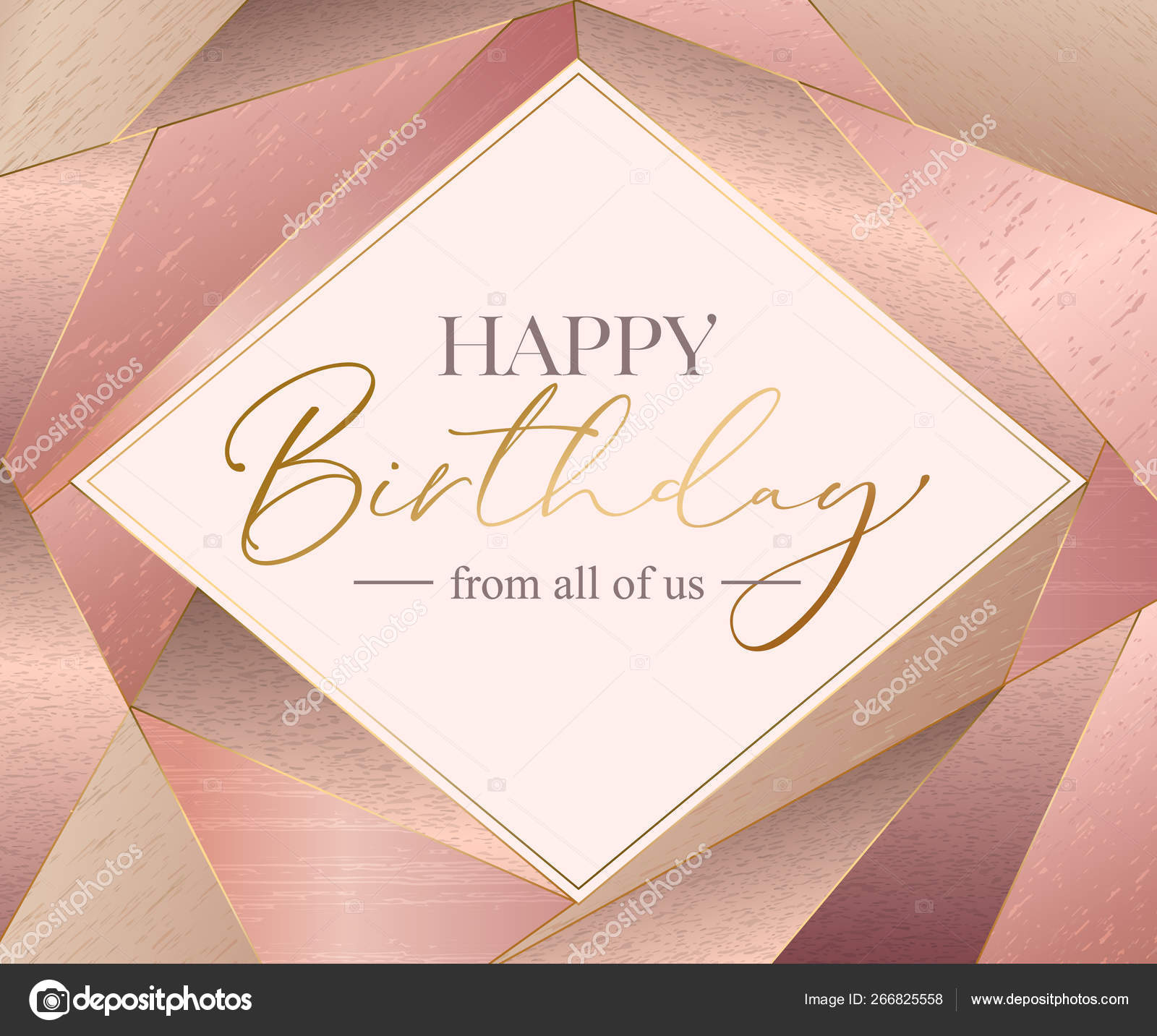 Vector Happy Birthday Card Template Letteing Text On Pink Gold Background Vector Image By C Vectorgift Vector Stock 266825558