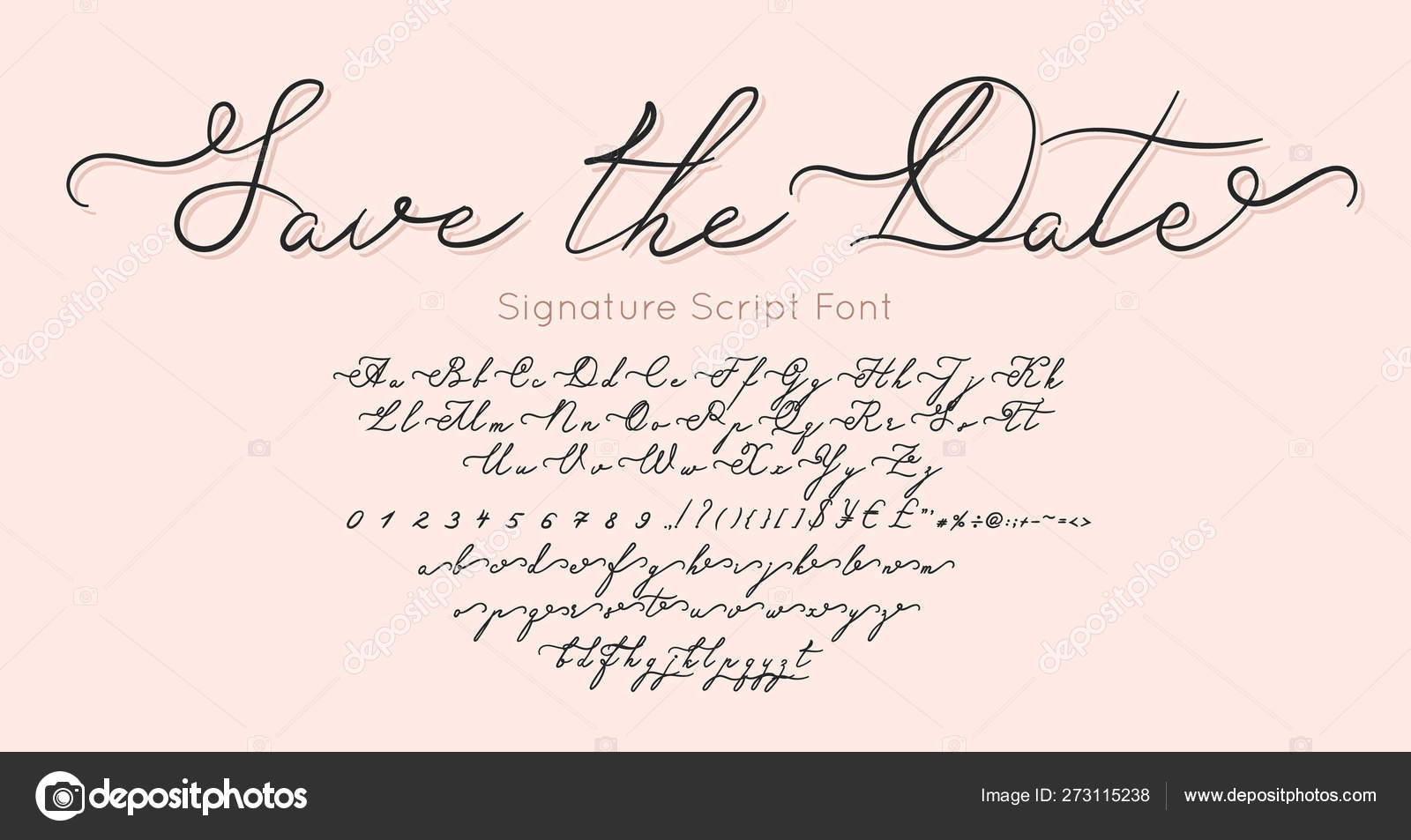 Save The Date Vector Font And Alphabet Vintage Letters And