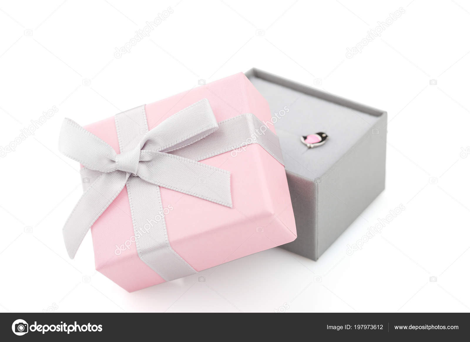 Small Pink Gray Jewelry Gift Boxes Bow Isolated White Background