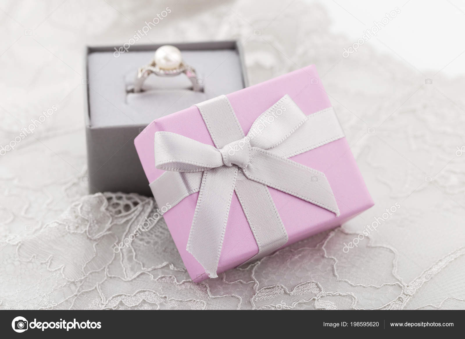 Small Pink Jewelry Gift Boxes Bow Lace Background Paper Present