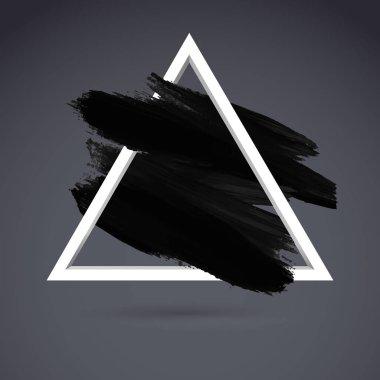 White triangle with black stroke of paintbrush on grey background