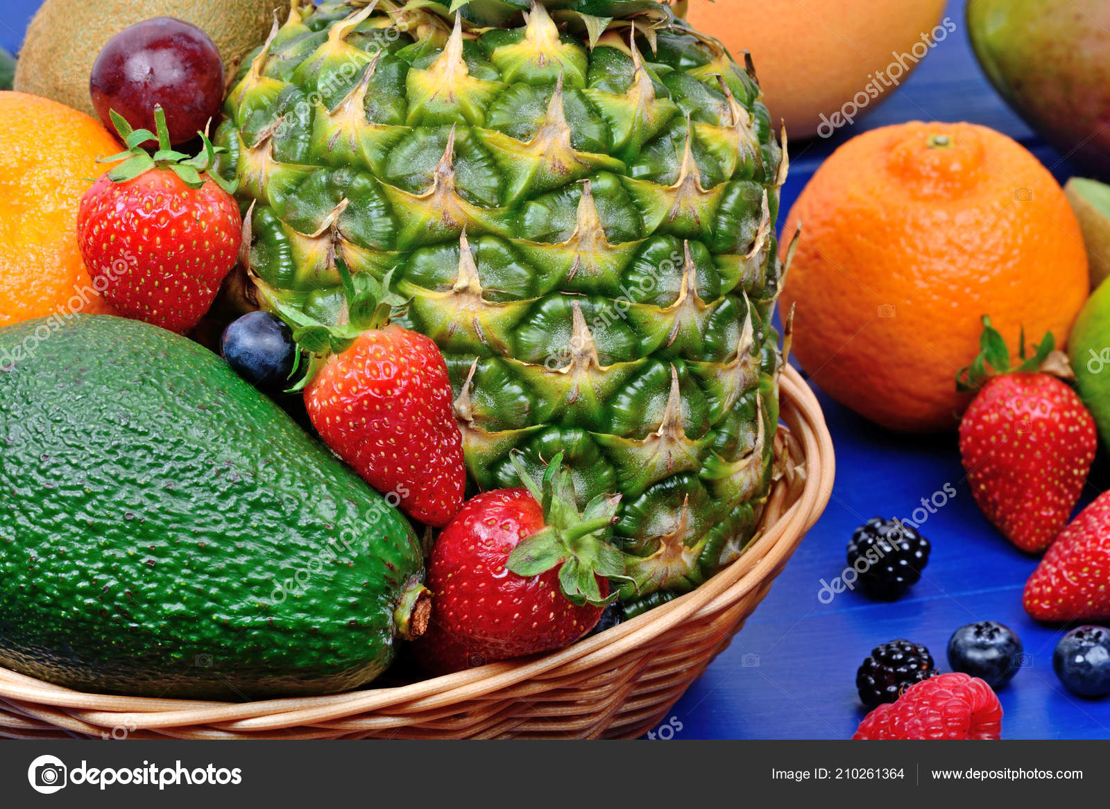 Mix Colorful Fresh Fruits Basket Table Stock Photo Deeaf
