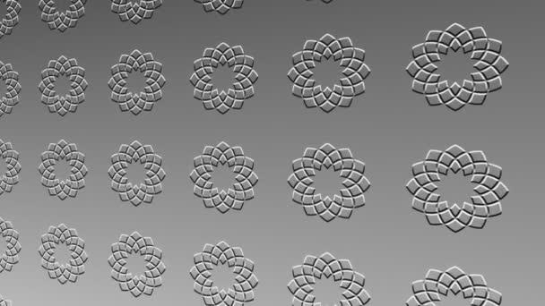 Fekete-fehér minta enyhén dombormű minimális háttér, megdöntött vízszintesen kezdetben balra, majd mozog jobbra, álló színes formák, 4k 16: 9 videó formátumban.
