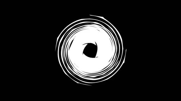 Barevný grafický objekt, který se otáčí ve směru hodinových ručiček ve středu, různé velikosti, na pozadí s hypnotickým, psychedelickým a stroboskopickým efektem, ve formátu 16: 9 video.