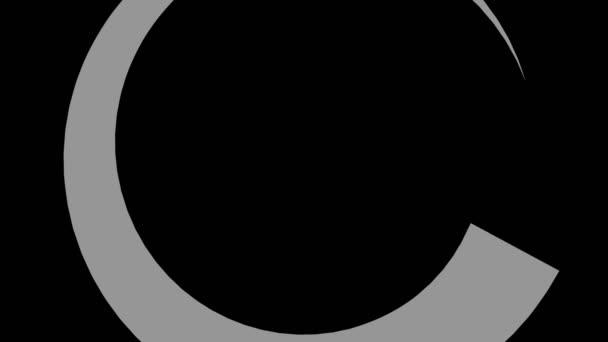 Graphisches Objekt in Schwarz-Weiß mit stroboskopischem und hypnotischem Effekt, der sich im Uhrzeigersinn dreht und die Größe vom Vollbild bis zum Verschwinden in der Mitte verringert