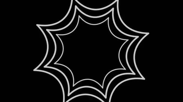 Graphisches Objekt in schwarz-weiß mit stroboskopischem und hypnotischem Effekt, der sich im Uhrzeigersinn dreht und die Größe vom Vollbild verringert, bis er in der Mitte verschwindet, im 16: 9-Videoformat