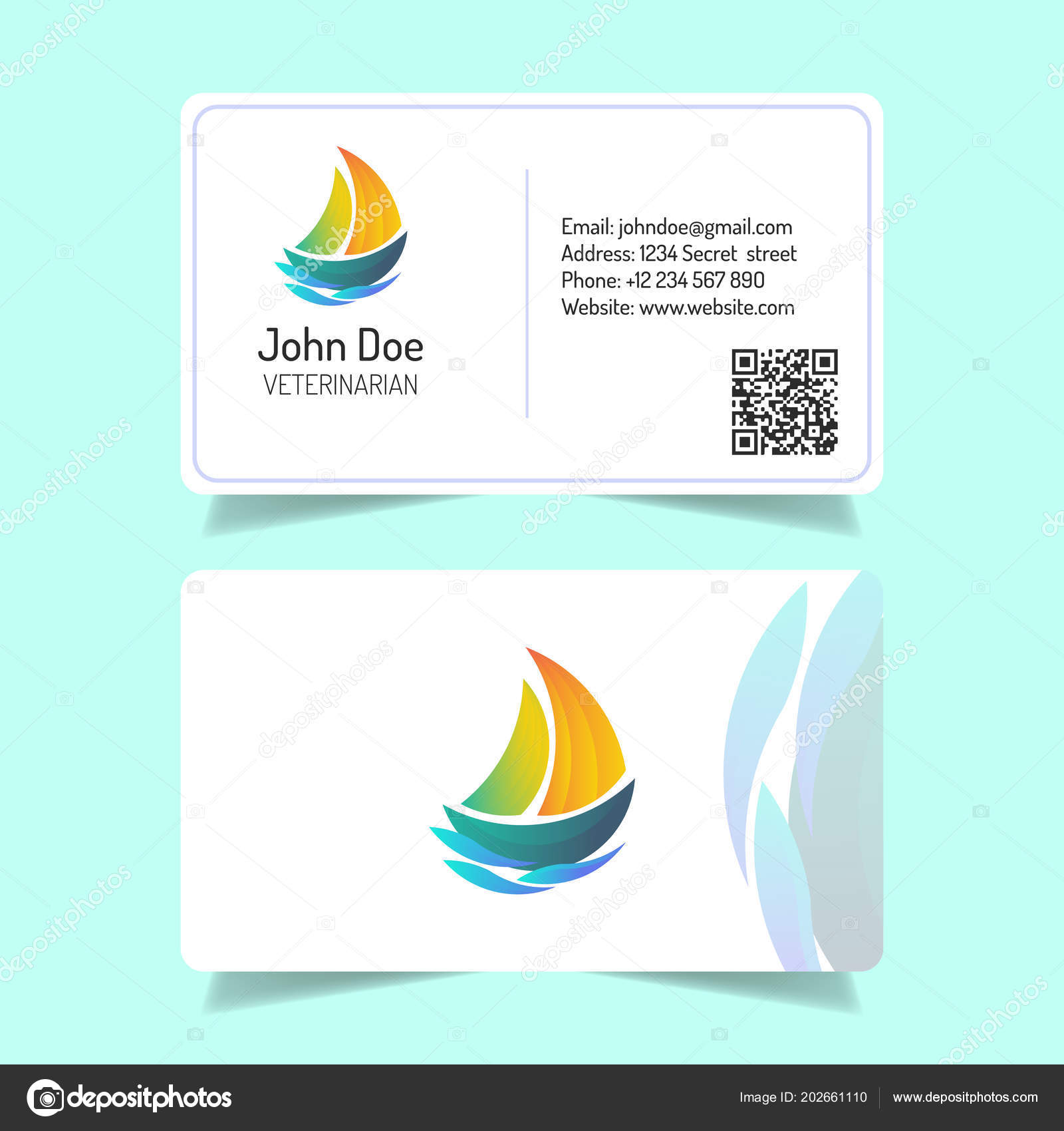 Simple Business Card Design White Background Ship Logo — Stock ...