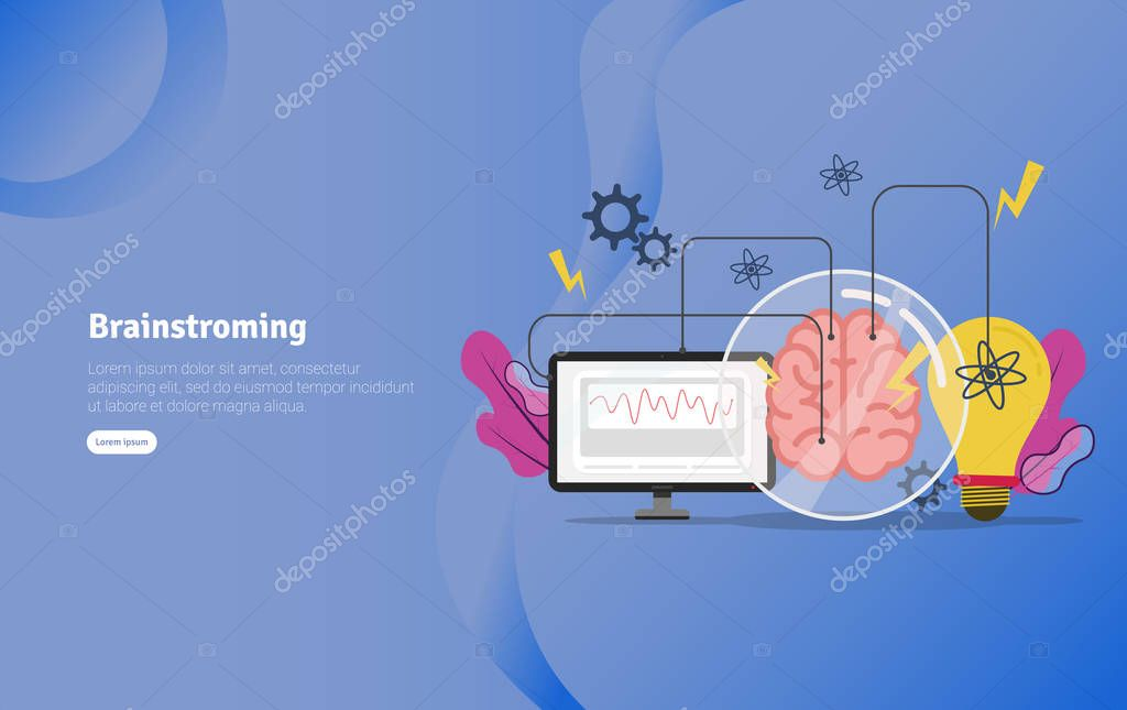 Brainstroming Concept Educational And Scientific Illustration Banner Suitable For Wallpaper Banner Background Card Book Illustration Or Web Landing Page And Use For Marketing Business Or Promotion Premium Vector In Adobe Illustrator