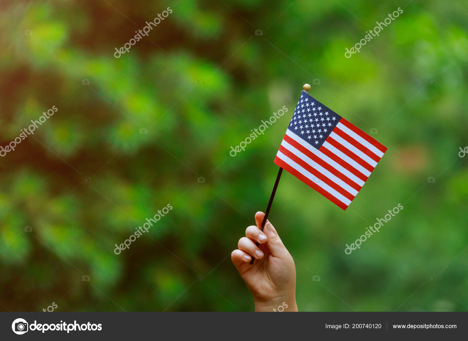 Beautiful American Flag Her Hand Laughing Sunny Day Independence Day