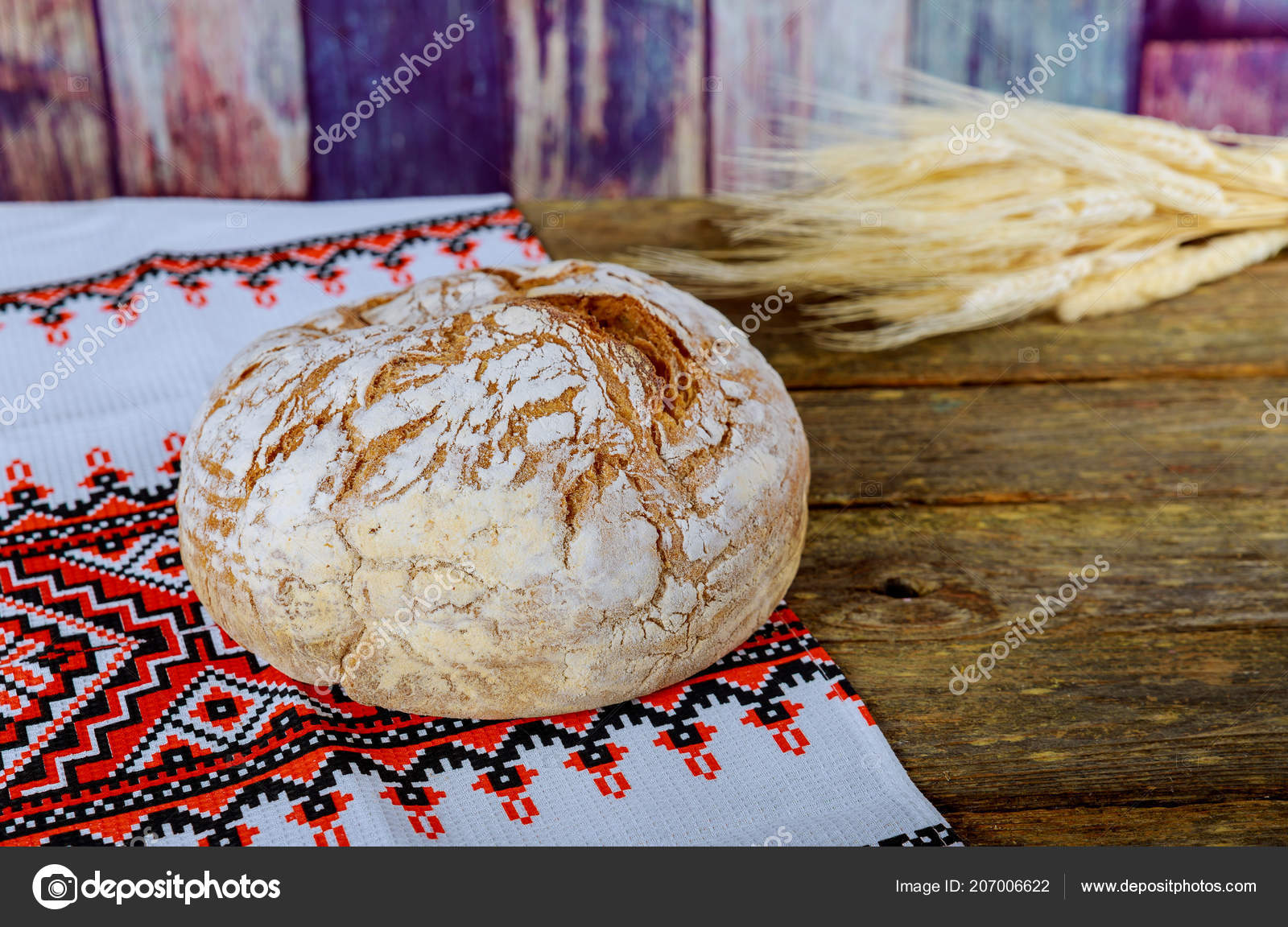 Bread Embroidered Ukrainian Loaf Embroidered Towel — Stock Photo ...