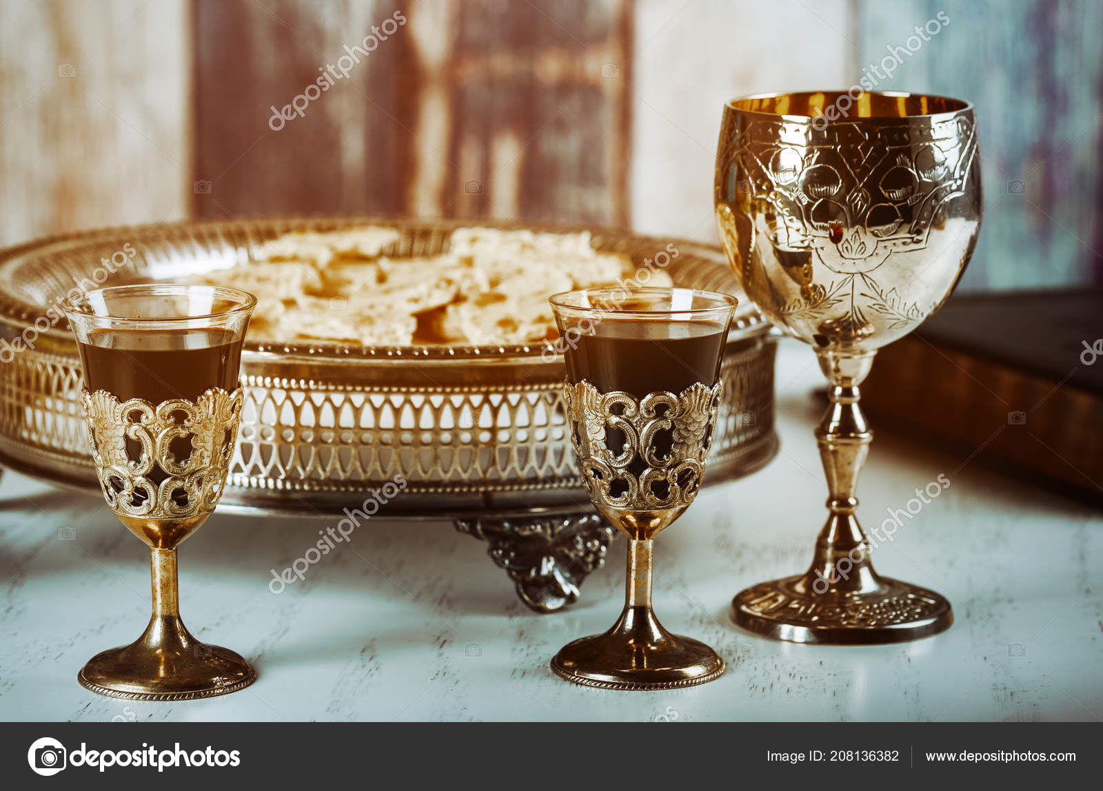 Holy Communion Wooden Table Church Cup Glass Red Wine Bread