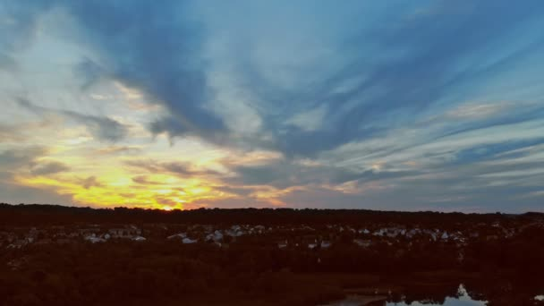 Amazing sunset panorama in a beautiful summer evening