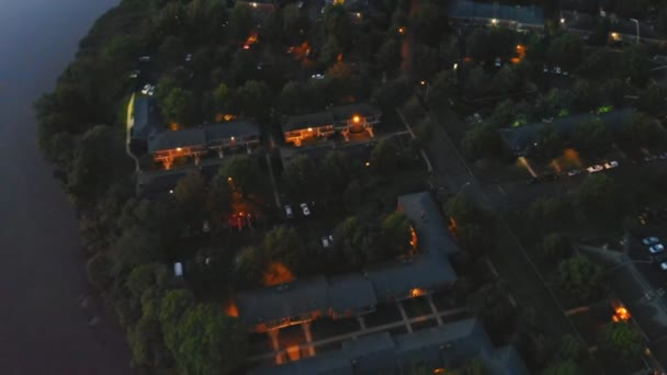 Residential area with illuminated road in night fantastic river