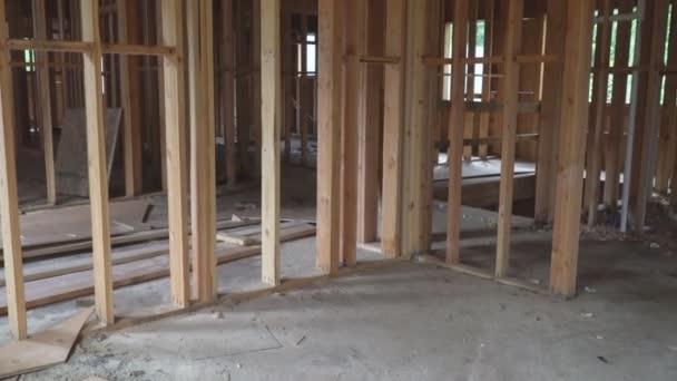 Abstrakt von Holzrahmen auf der Baustelle.