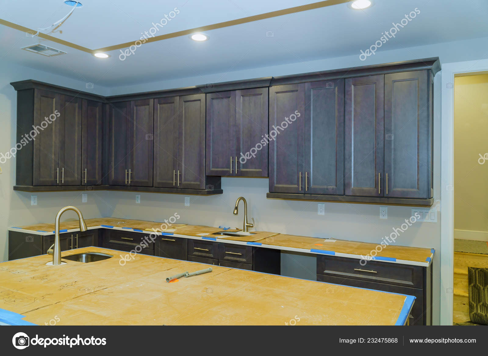 Blind cabinet, island drawers and counter cabinets installed ...