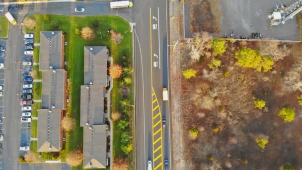 Beautiful, suburbs with stunning houses and landscaped yards, aerial view. USA