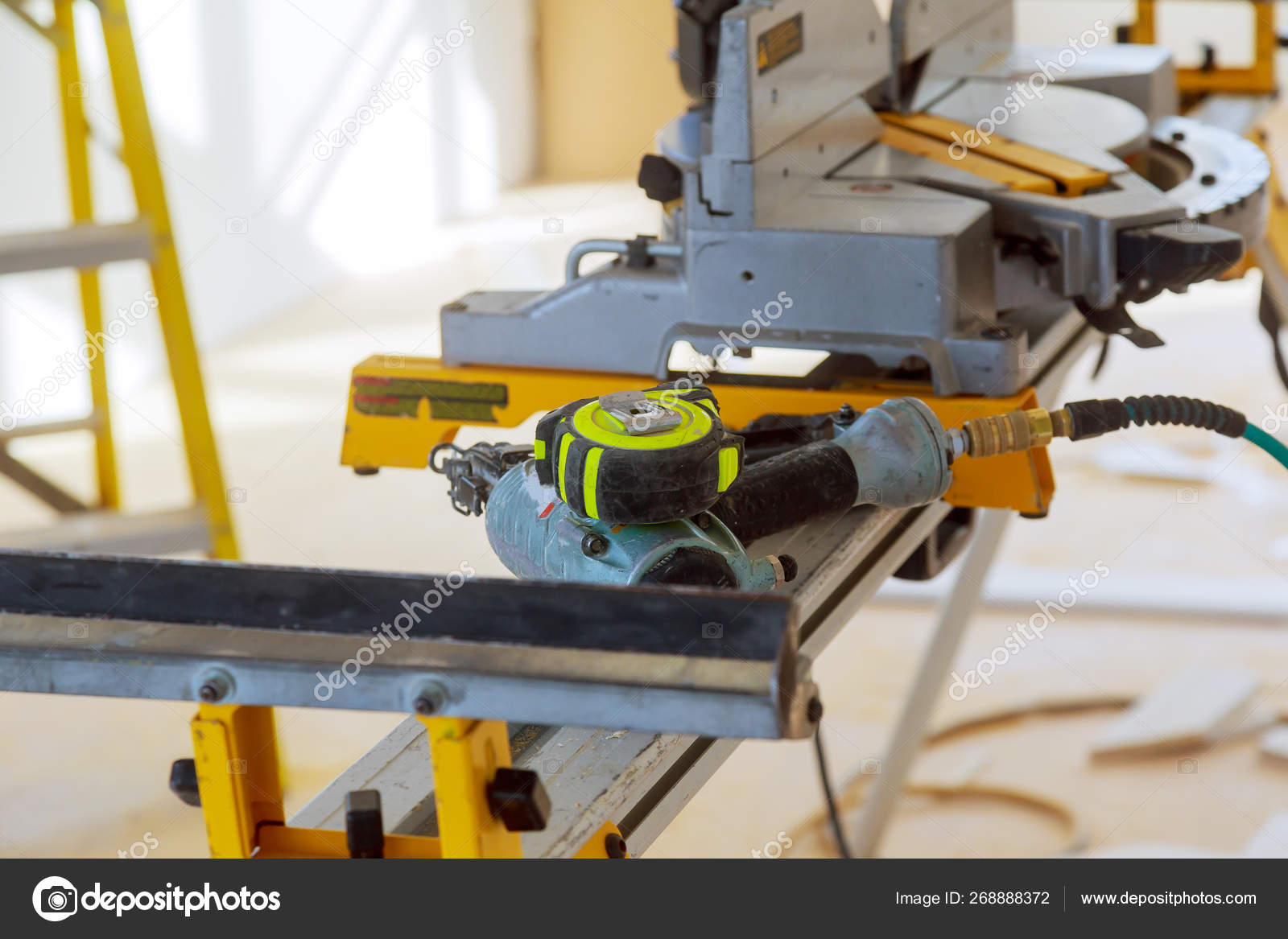 Construction site power tools cutting using circular saw