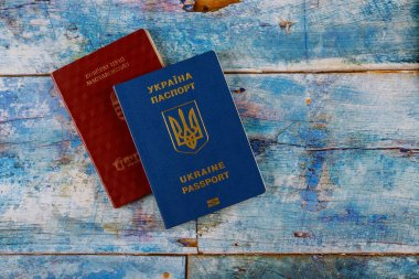 Passports of dual citizens Ukraine and Hungarian for traveling concept