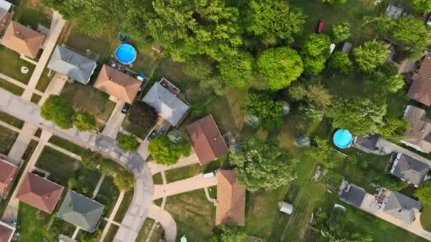 Scenic seasonal landscape from above aerial view of a small town in countryside Cleveland Ohio US