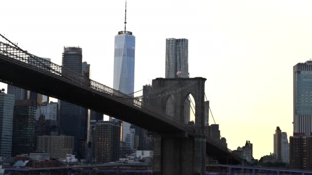 View of a magnificent view of the lower Manhattan and Brooklyn Bridge