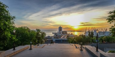Giant staircase and Monument to Duc de Richelieu on Primorsky Boulevard in the city of Odessa, Ukraine. Panoramic view in a summer morning