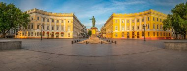 ODESSA, UKRAINE - 05.16.2018. Giant staircase and Monument to Duc de Richelieu on Primorsky Boulevard in the city of Odessa, Ukraine. Panoramic view in a summer morning