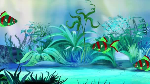 Piccoli pesci di acquario rosso-verde galleggia in un acquario. Animazione handmade, grafico movimento loop