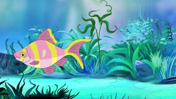 Rose-yellow striped  Aquarium Fish floats in an aquarium. Handmade animation,  looped motion graphic.