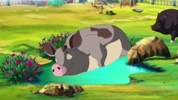 große graue Schweine, die an einem Sommertag in einer Pfütze schlafen. Handgemachte Animation, Loopinggrafik.