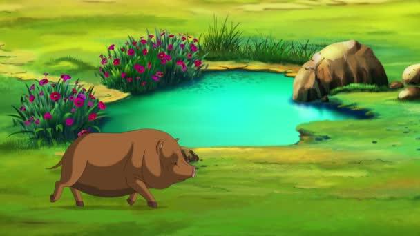 Malé hnědé čuňátko běží za letního dne poblíž velké kaluže. Ručně vyrobená animace, smyčková pohybová grafika.