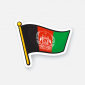 Fotografie Vector illustration. National flag of Afghanistan on flagstaff. Location symbol for travelers. Sticker with contour. Decoration for patches, prints for clothes, badges. Isolated on white background