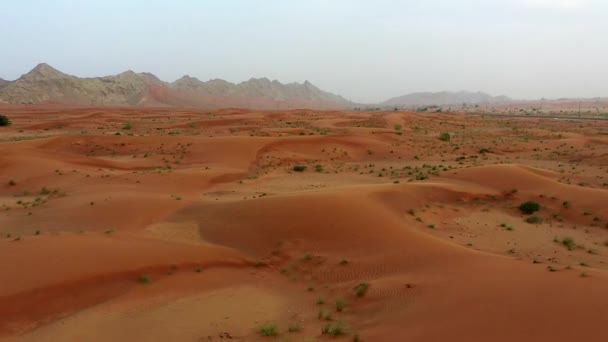 Drohnen-Ansicht der Trockenen Wüste in Dubai mit Sandwellen, geologische Landschaft der Hohen Dünenwüste in den Vereinigten Arabischen Emiraten
